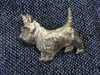 真鍮製犬型ピンズブローチ ジャケットやハットの飾りにの画像