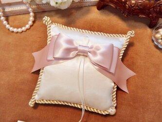 シンプルリボン♡ツイストコードのリングピロー(ピンク)の画像