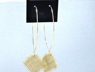 草木染の麻布ピアス(やぶがらし)の画像