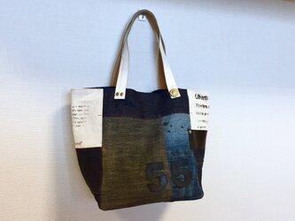新作☆デニム&倉敷8号帆布トートバッグ Mサイズ クール白革55の画像