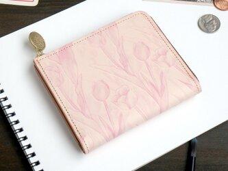 Lウォレット L字ファスナー 財布(フェミニン チューリップ)オールレザー 革 レディース ILL-1157の画像