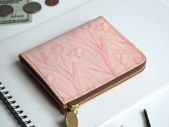 L字ファスナー 財布(フェミニン チューリップ)オールレザー 革 レディース ILL-1157の画像