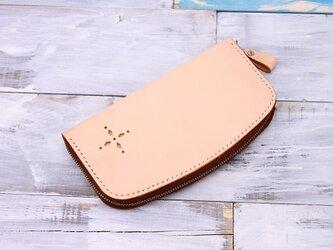 【切線派】牛革手作りRFID ブロックファスナー長財布(021001)の画像
