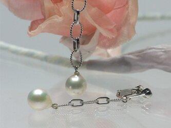 大珠8.8㎜ホワイト系パールのエレガントな揺れるイヤリング【あこや真珠】 silver925製E-1910の画像