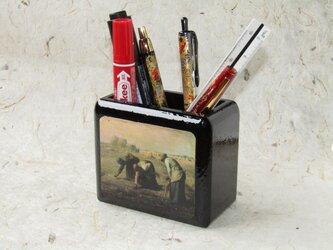 ✨くるみ工房✨漆塗りペン立て小物入れ 絵画ミレーの画像
