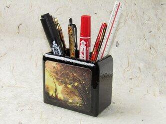 ✨くるみ工房✨漆コーティングペン立て小物入れ 絵画コローの画像