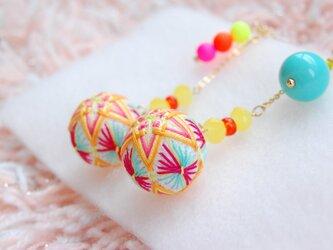 【HOT!summer summer】ノンホールピアス★カラフル手毬の画像