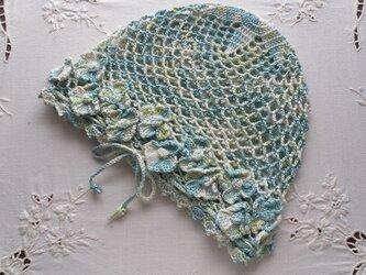 コットンかぎ針編み帽子 薄緑ミックスの画像