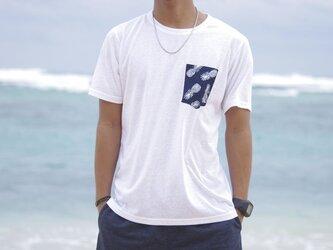 メンズサマーTシャツ<パイナップルネイビー>【Mサイズ】の画像