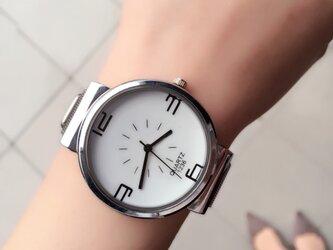 今期大注目‼︎ 男女兼用 ステンレスホワイト腕時計 ペアウォッチ <c-002>の画像