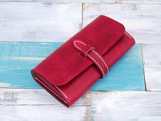 【切線派】牛革手縫い収納ジャバラマチ財布ベルト留め長財布 手染め / 総手縫い 027004の画像