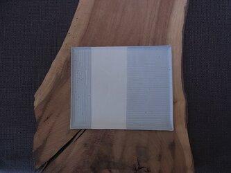 四方線文平大皿 グレー 2の画像