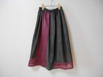 薄着物紬のパッチワークリメイクスカートの画像