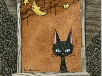 0298「月夜の黒猫」ペン・水彩画 原画の画像