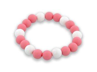 バランスブレスレット600ホワイト・ラウンドシリコーンビーズ (ピンク10mm)の画像