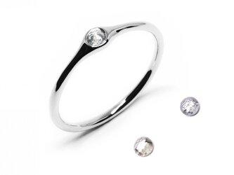 Pt900/透明系ローズカットダイヤミニマムリング【Pio by Parakee】Platinum rustic diamondの画像