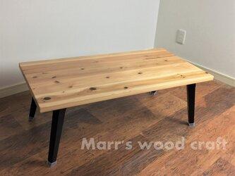 国産杉の無垢材 折れ脚テーブル 45x90cm クリアー塗装 【オーダー可能】折りたたみ式の画像