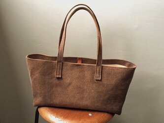 ■ nori. 酒袋+帆布 トート アンティークブラウン(柿渋染め)の画像