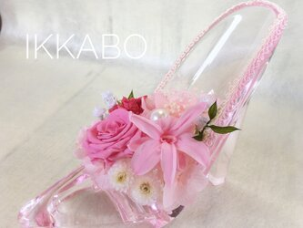 【ガラスの靴】プリザーブドフラワーハイヒールアレンジ ピンクの画像