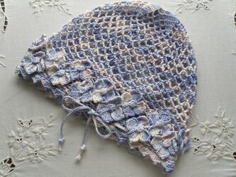 コットンかぎ針編み帽子 薄紫ミックスの画像