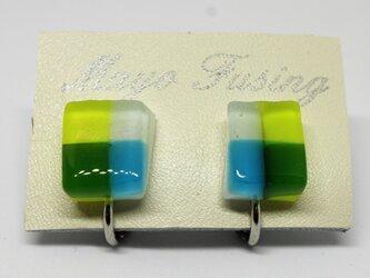 マドラスチェック*ガラスのイヤリングの画像