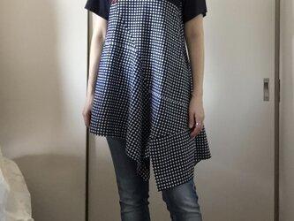 浴衣半袖つぎはぎチュニック・アシンメトリー(ギンガムチェック)の画像
