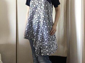 浴衣半袖つぎはぎチュニック・アシンメトリー(チェック・梅)の画像