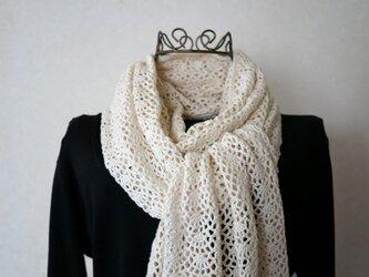 (再販)かぎ針編みのストール(オフホワイト)の画像