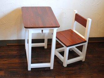 即納★ミルクペイント♪マットホワイトのレトロな小さい勉強机と椅子セットの画像