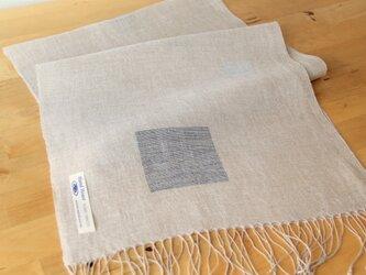手織りリネンストール リネン×藍染めの画像