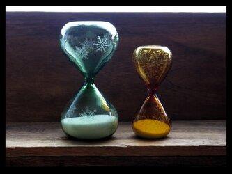砂時計セット--小さな葉・雪の結晶の画像