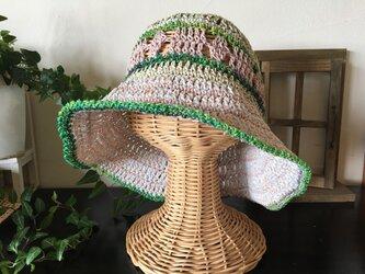 ピンクグリーンのボーダー帽子の画像