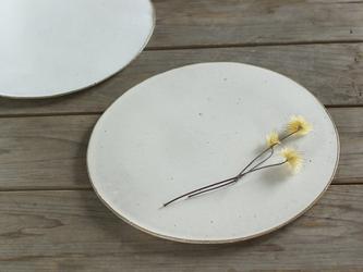 白い陶板のお皿(大/無地)の画像