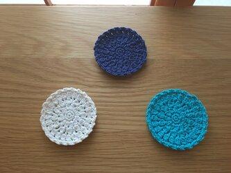 コットンコースター【単色・ブルー】の画像