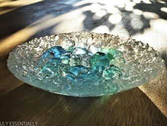 ガラスのアクセサリートレイ -「 灯りのタネ 」 ● ターコイズブルー・12cmの画像
