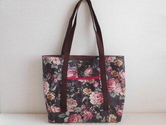 花柄 ショルダーバッグ 綿麻ブラウンの画像