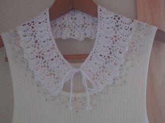 * レース編みの繊細な付け衿(ホワイト)*の画像