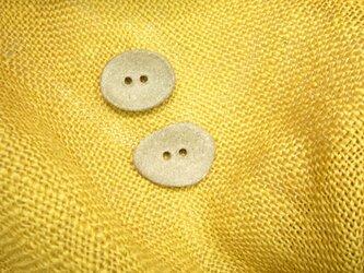 陶器の変形ボタン5個セット(焼き締め フラット)の画像