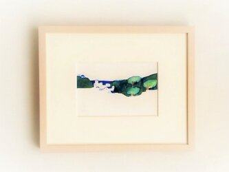 【受注制作】「風の吹く町」イラスト原画 ※額縁入りの画像