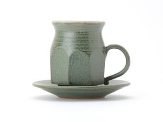 八戸焼コーヒーカップ 緑釉 の画像