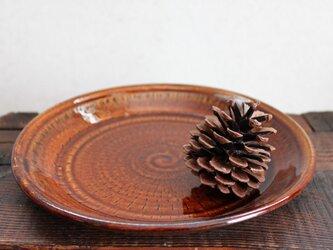 飴釉 飛びカンナ皿の画像