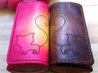 【名入れ・カラーオーダー無料】ペア♥選べるカラー!カップル・夫婦 キーケース 4連 本革 猫 ハートの画像