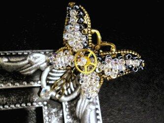 【スチームパンク・ネオヴィクトリアン】スルコウスキーモルフォ蝶イメージのリングの画像