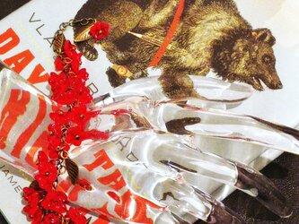 【【スチームパンク・ネオヴィクトリアン】紅いナルシスとメタルリーフのブレスレットの画像