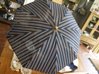 正藍染しじら織の日傘の画像