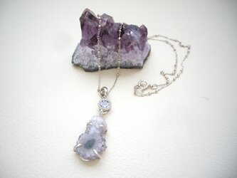 【再販】アメジスト原石とタンザナイトのペンダントネックレス 925SVの画像