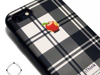 iPhone7/iPhone8/iPhoneSE2(新型)軽量レザーケースカバー(ホワイト×ブラック)赤リンゴタータンチェックの画像