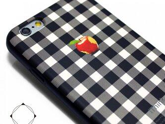 iphone6/iphone6sケース(4.7インチ用)軽量レザーケース(ホワイト×ブラック) アップル シェパードチェックの画像