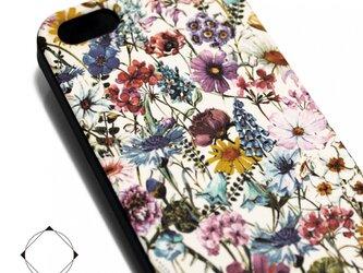 iphone5/iphone5s用/iphoneSE用 軽量レザーケースiphone5カバー(花柄×ブラック)ワイルドフラワーの画像