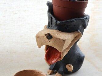 チビドーベルマンの植木鉢の画像